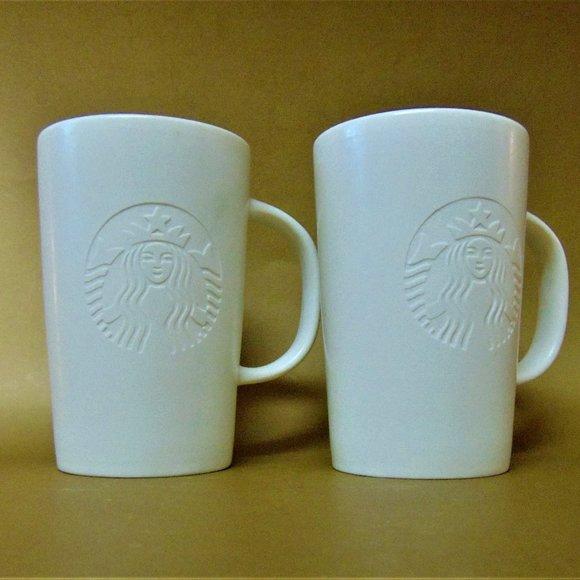 2014 Starbucks Mugs  Embossed Mermaid Logo 12 oz